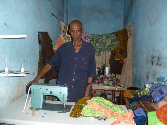 New sewing machine for an old activist of Afrique-Europe-Interact in Bamako